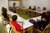 Ukázková učebna, kde probíhá výuka francouzského jazyka, LSF Montpellier Francie